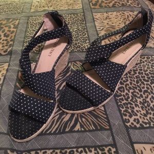 Beautiful blue and white polka dot wedge sandals